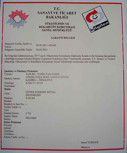 Kadirli Tan Is� Garanti Belgesi